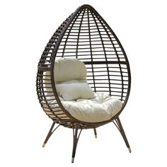 Cutter Teardrop Wicker Patio Lounge Chair With Cushion - Brown - Christopher Knight Home : Target