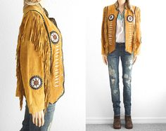 Leather Fringe Jacket Native American by 2treasurehunt on Etsy, $268.00  Wishful thinking because this is the coolest jacket ever