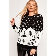 WearAll Festive Reindeer Knitted Christmas Jumper ($30) ❤ liked on Polyvore featuring tops, sweaters, black, xmas sweaters, long sleeve sweater, long sleeve tops, snowflake sweater and baggy sweaters
