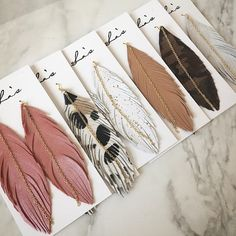 New Leather Feather Earrings