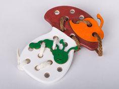 Montessori Toy - Wooden Lacing Mushroom with Caterpillar and Leaf, Lacing Toy, Mushroom, Caterpillar, Leaf
