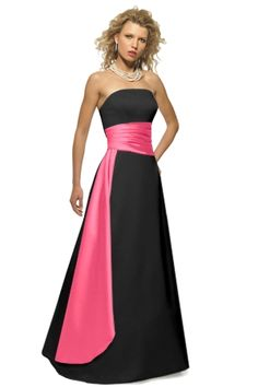 Alexia Designs style 2614: Strapless matte satin two-tone bridesmaids gown with pleated cummerbund and side drape.