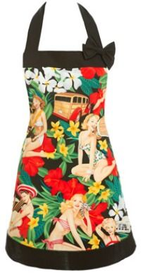 Hawaiian Pinup Apron ::: vintage aprons, hostess aprons, kitchen aprons, glamour aprons, retro aprons, girly aprons, hostess dishwashing gloves, faux fur gloves, kitchen gloves