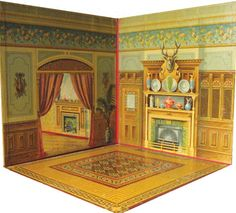 """RARE MCLOUGHLIN DOLL HOUSE  DOLLS. FOLDING DOLL HOUSE. NY: McLoughlin Bros. 1894. Boards, 12 x 12"""" when closed, some rubbing, near fine. This is an extraordinary paper toy that opens up with hinged pieces to erect a 4 room house including a kitchen, bedroom, parlor and dining room. Each room has 4 walls and a fold-down floor with all sides panelled in richly detailed chromolithogrpaphs simulating the walls and decor of the actual rooms with a variety of appropriate flooring. A rare…"""