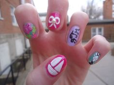 Things sorority girls love: Lilly, bows and pearls, monograms, argyle, and of course TSM! Sorority Nails, Sorority Recruitment Themes, Sorority Life, Total Sorority Move, Girls Nails, Fashion And Beauty Tips, Happy Girls, Lilly Pulitzer, Beauty Hacks