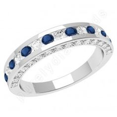Saphire and diamond wedding band or eternity ring designed and created by Purely Diamonds http://www.purelydiamonds.co.uk/diamond-rings/sapphire-diamond-rings/pdws061w-18ct-white-gold-eternity-ring-with-8-round-sapphires-and-7-round-brilliant-cut-diamonds-in-a-channel-setting.html#.UdV5GT5AQt0
