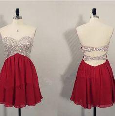 Cute Short Burgundy Beaded Knee Length Cross Back Prom Dresses 2015, Homecoming Dresses 2015, Graduation Dresses 2015,#burgundy