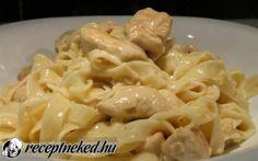 Tejszínes csirkés tészta recept fotóval Hungarian Recipes, Chicken Alfredo, Nutella, Macaroni And Cheese, Bacon, Spaghetti, Food And Drink, Yummy Food, Recipies