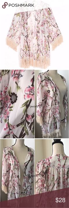 "Floral fringe Kimono Fringe floral branch print Kimono  Super elegant light weight, polyester  Brand new wot! Size M/L SEE MEASUREMENTS  Bust goes up to 43"" Back length 34"" Shoulder 17"" sleeve 19""     BUNDLE & SAVE 15% ✨TOP RATED SELLER✨ SAME DAY OR NEXT DAY SHIPPING! ❤REASONABLE OFFERS WELCOME❤ ❌NO TRADES NO PAYPAL ❌ Tops"