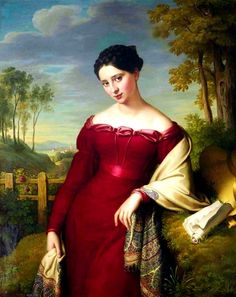 1824 Eduard Friedrich Leybold - Potrait of a young elegant lady, three-quarter length, in a red dress with an embroidered shawl, standing in a landscape
