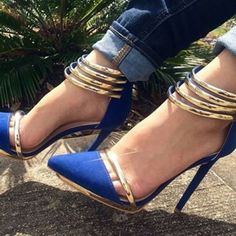 Women's Esther Blue Metal Ankle Strap Stiletto Heels Pumps Shoes ($70) ❤ liked on Polyvore featuring shoes, pumps, high heel stiletto pumps, stiletto high heel shoes, high heel stilettos, stiletto shoes and stiletto heel shoes