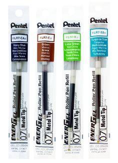3 x Pentel BLP75 EnerGel PERMANENT Gel Ink Pen 0.5mm Tip Black//Blue//Red