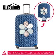 1b72a5c398 Dispalang new floral denim design waterproof elastic suitcase cover 3D jean print  travel luggage covers for