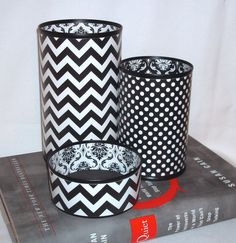 The Best Tin Can Desk Accessory Set Ever - Pencil Holder - Black and White Chevron Damask Polka Dot Desk Accessories - No 302 on Etsy, $32.00