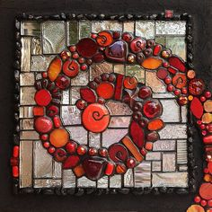 """GLASS ON MIRROR: COLOR, TEXTURE, BLING! This weekend, 16-17 AUGUST 2014, Institute of Mosaic Art, Berkeley, CA www.instituteofmosaicart.com $350 (all materials/tools included) While combining dimensional colored glass shapes with textured clear glass into a vibrant 8"""" x 8"""" mosaic, you'll learn to: Add sparkle and glow with a mirror substrate Use a super clear/fast/strong UV-curing adhesive Cut incursions into glass with a ringsaw Confidently apply epoxy grout (with optional glitter…"""