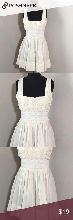 "Bebe Off White Boho Empire Waist Beaded Dress M Women's Bebe off white X-back empire waist dress. Beaded textured waist. Size M 17"" armpit to armpit, 33.5"" shoulder to hem. bebe Dresses"