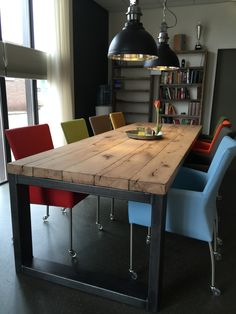 Industriele balkentafel verouderd #Industrialtable