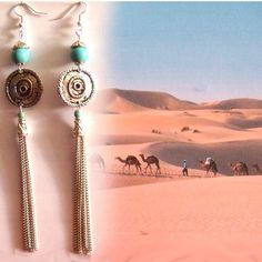 Very long silver color chain tassel earrings with turquoise beads,ethnic inspiration by CapricesDeParisienne on Etsy