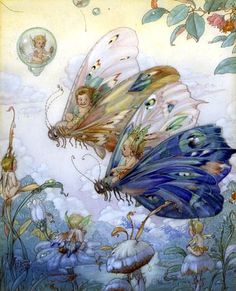 ≍ Nature's Fairy Nymphs ≍ magical elves, sprites, pixies and winged woodland faeries - Fairy Aviators by Harold Gaze. Art And Illustration, Illustrations, Butterfly Illustration, Fairy Dust, Fairy Land, Fairy Tales, Magical Creatures, Fantasy Creatures, Fantasy Kunst