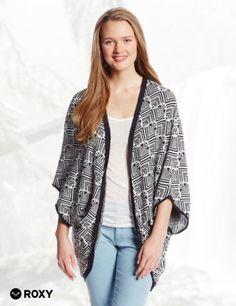 Roxy Juniors Days Away Oversized Wrap Printed Sweater