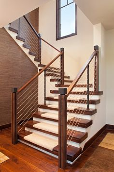 lowes stair treads Staircase Contemporary with cable rail carpet treads closed risers open stringer open - Home DIY Idea Cable Stair Railing, Modern Stair Railing, Stair Handrail, Staircase Railings, Railing Design, Staircase Design, Stairways, Staircase Runner, Staircase Ideas