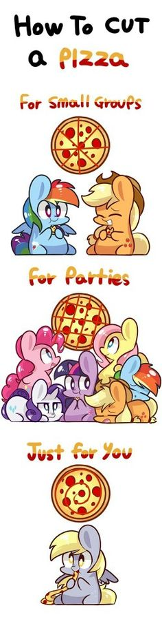 Pizza with chibi ponies