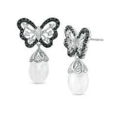 Zales: 9.0mm Cultured Freshwater Pearl and 3/8 CT. T.W. Enhanced Black and White Diamond Butterfly Earrings in Sterling Silver