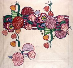 """Above: 'Chyrsanthemums.'  Charles Rennie Mackintosh (1868-1928) was one of the great designers of the Arts & Crafts Movement. He gave us the Dahlia, the Chrysanthemum, and of course, the Mackintosh Rose. These images first appeared on appeared on paper, but were soon to appear in textiles, stained glass, fabrics, and tiles.  Watercolor, Charles Rennie Mackintosh, Mymosa, 1924, France.    """"Art is the flower, life is the green leaf. You must offer…flowers that grow from bu"""