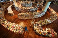 Come to London and visit the Southbank Centre to explore the giant aMAZEme book labyrinth. It was created from 25,000 books by Barzilian artists Marcos Saboya and Gualter Pupo for the London Cultural Olympia which runs concurrent with the London Olympics 2012. Free admission (nearest tube: Waterloo).
