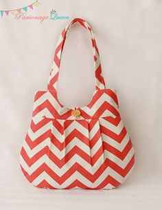 "Coral Chevron Handmade Purse or Shoulder Bag with Aqua Lining made by Brittany ""The Parsonage Queen"" Etsy shop. #fabric #sewing"