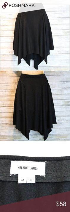 Helmut Lang black handkerchief style skirt sz M Helmut Lang black handkerchief style skirt. Waist is stretchy  Excellent Condition sz M Helmut Lang Skirts