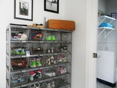 This stylish piece of furniture is the best shoe storage ideas and a perfect complement to any home. Check out our best shoe storage ideas list. Shoe Storage Solutions, Diy Shoe Storage, Storage Design, Storage Ideas, Wire Storage, Garage Storage, Storage Baskets, Shoe Shelves, Metal Shelves