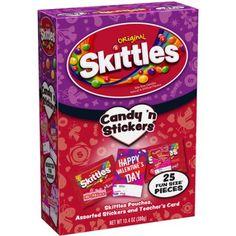 Skittles Original Fun Size Valentine's Candy 'n Stickers, 25 count, 13.4 oz