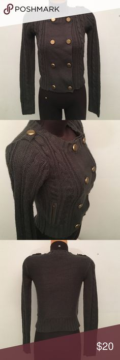 Trendy Military style green sweater Super cute from Forever 21. Very good condition. 100% Acrylic. (B2) Forever 21 Sweaters