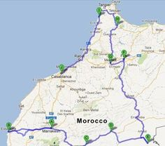 two week morocco itinerary map