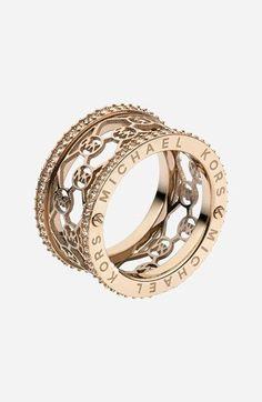 Michael Kors 'Monogram' Logo Cigar Band Ring