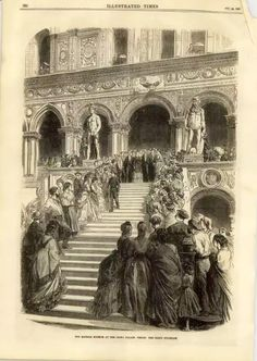 Illustrated Times 1869 - Empress Eugenie on the Giants Stairway, Doges Palace, Venice