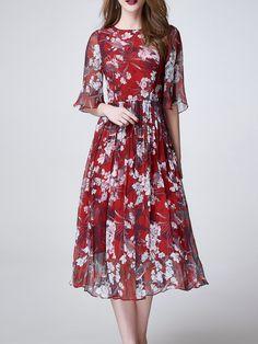 Shop Midi Dresses - Red Elegant Crew Neck Floral Midi Dress online. Discover unique designers fashion at StyleWe.com.