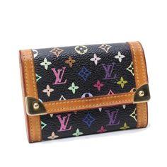 Louis Vuitton Porte Monnaie Plat Monogram Multicolor Wallets Black Canvas M92656