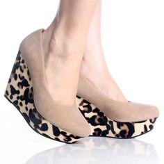 Taupe Leopard Platform Wedge High Heel Fashion Dress Pump Womens Shoes