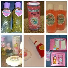 Tinkerbell perfume, makeup & bubble bath....  omg it's been so long since I've seen the one on the top left!!!