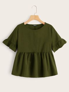 Shop Ruffle Cuff Smock Top at ROMWE, discover more fashion styles online. Trendy Outfits, Summer Outfits, Girl Outfits, Cute Outfits, Girls Fashion Clothes, Fashion Outfits, Moda Vintage, Peplum Blouse, Western Wear