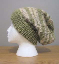 Slouchy Striped Hat for Makaela Lion's Brand Vanna's Choice
