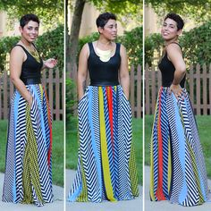 Striped Maxi Skirt + Tank - Mimi G Style