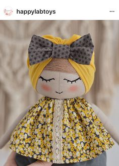 This little fashionista is up in my store 💛 See more photos at the link in my bio . I'm definitely in love with these tiny bow turbans and bloomers *sold Sock Dolls, Felt Dolls, Handmade Soft Toys, Handmade Dolls, Lace Balloons, Baby Girl Dolls, Fabric Toys, Girly Gifts, Dress Up Dolls