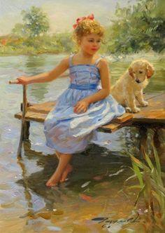 Konstantin Razumov - By the bank of the river, Oil...