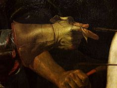 Detail of Martyrdom of Saint Sebastian by Cecco del Caravaggio, ca. National Museum in Warsaw. St Sebastian, Caravaggio, Warsaw, National Museum, Erotica, Baroque, Gloves, Superhero, Detail