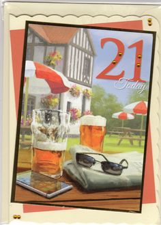 21st Birthday using hunky-dory topper, beer and sunglasses