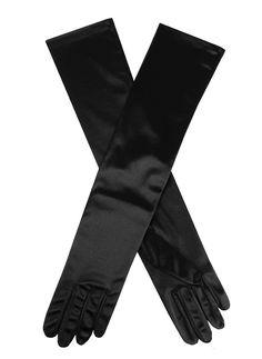 39ceba132b3f8 6-2181 Black Women's elegant plain satin evening gloves. Composition: 90%  Nylon