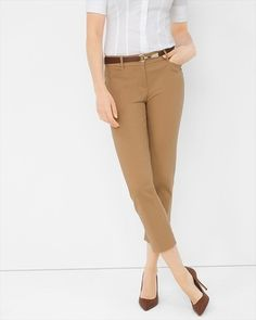 The classic straight leg pant, updated for today with a sleek cropped length. Crafted from our exclusive Perfect Form Boho Outfits, Fashion Outfits, Power Dressing, Straight Leg Pants, Black House, Cropped Pants, Spring Summer Fashion, Style Inspiration, How To Wear